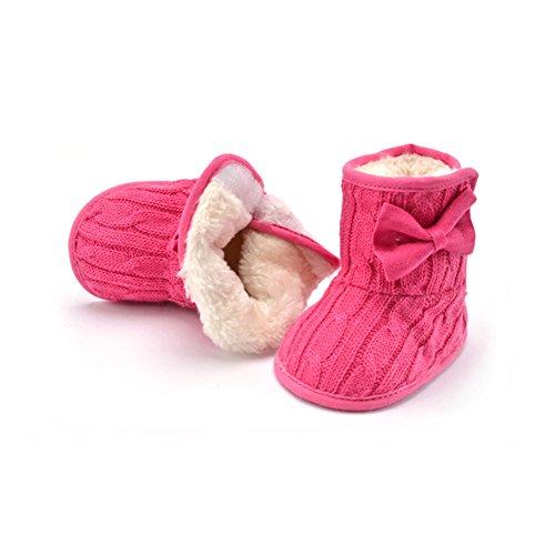 Just easy Krabbelschuhe Winterschuhe Bowknot Plus Samt Schuhe Boots Pfirsiche rot