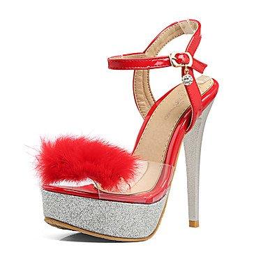 LvYuan Damen-Sandalen-Büro Kleid Party & Festivität-PU-Stöckelabsatz-Club-Schuhe-Schwarz Rot Weiß White