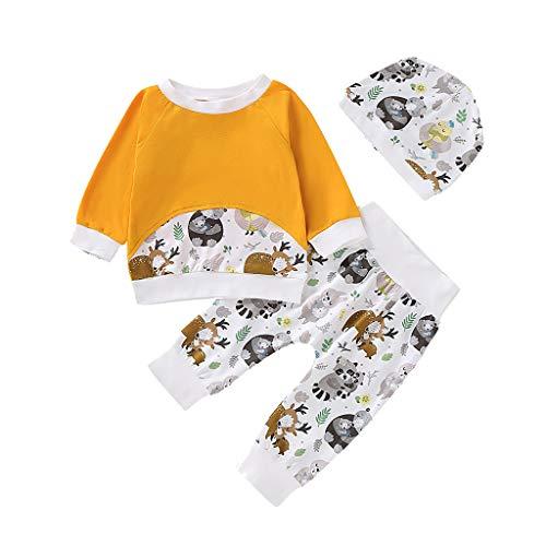 Comie Kinder Winter Onesies, Säuglingsbaby Lange Hülsen Karikatur Druck T Shirt Oberseiten Hosen Ausstattungs Sätze, Süß Langärmliges Hemd