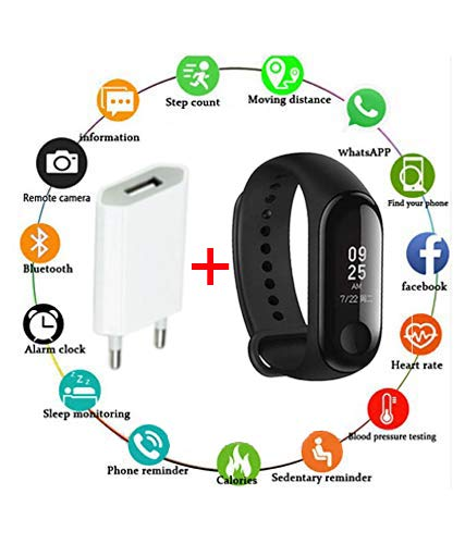 SBA999 Advanced Upgraded Waterproof M 3rd Generation Smart Activity Fitness Live Heart Rate Steps/Calorie Counter Blood Pressure Monitor Health Tracker Watch/Band with Touch Sensor OLED Screen with Charger