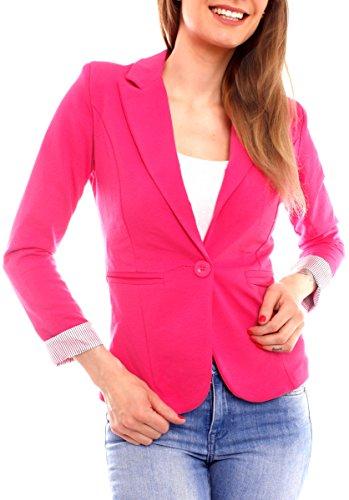 Easy Young Fashion Damen Jersey Blazer aus Baumwolle gefüttert 3/4-Arm (S - 34, pink)