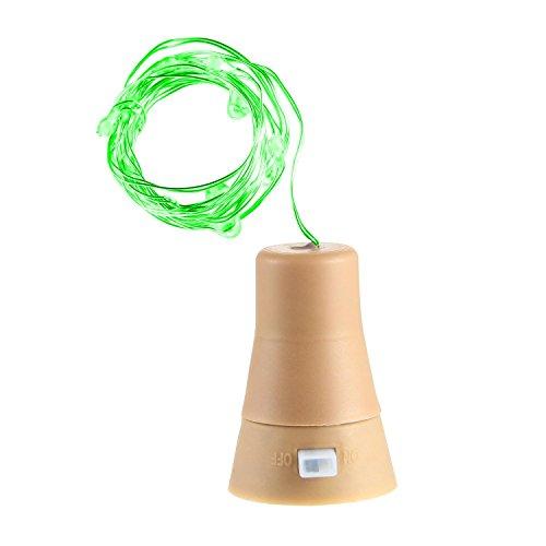 KOBWA Wein Flasche Kork Solar, 10Lichtern LED Kupferdraht LED Lichterkette für Party, Flasche DIY, Weihnachten, Tischdekorationen, Tanzen, Hochzeit, Halloween, Festival Decor Green Light