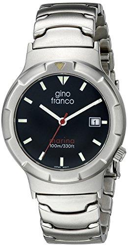 gino franco Men's 981BK Marina Round Stainless Steel Bracelet Watch
