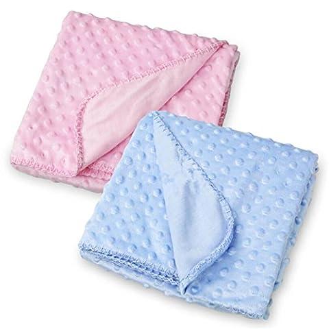 Minky Dot Cuddle en polaire douce couverture pour bébé - enfant garçon fille lit bébé - Lot de 2 (102cmx76cm)