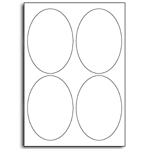 Multi Purpose White Permanent Oval Labels - 4 Labels Per Sheet - 25 Sheets 95mm x 134mm
