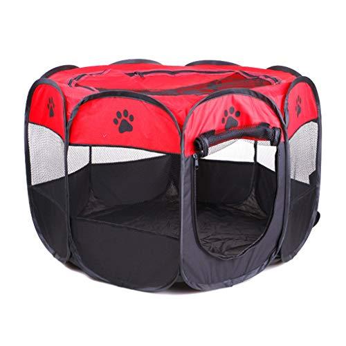 Busirde 8 Punkte Haustier-Zelt beweglicher Playpen Folding Crate Haus im Freien Oxford-Gewebe weicher Kennel Cage rot S - Im Freien Rot-gewebe