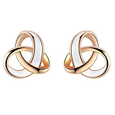 YEAHJOY Women's Elegant Rose Gold Plated Drop of Water Oil Tricyclic Earrings