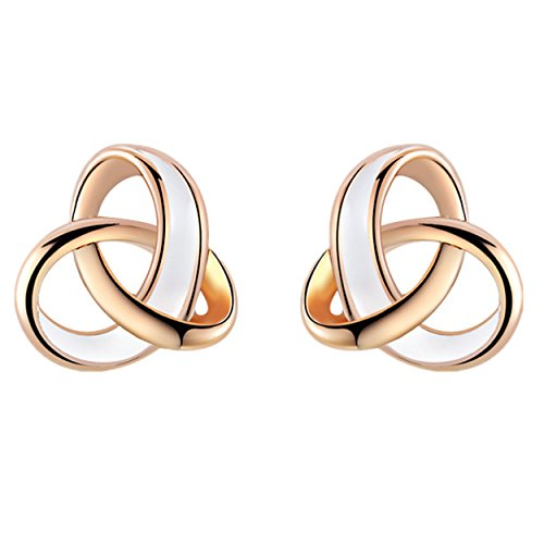 - 41k8XOFerPL - YEAHJOY Women's Elegant Rose Gold Plated Drop of Water Oil Tricyclic Earrings