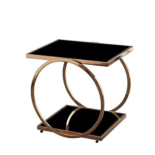 MXZ Glas Couchtisch, Beistelltisch, Sofa Tisch, Nachttisch, Satztisch, Rechteck 55x40x51 (H) cm (Farbe : Gold)