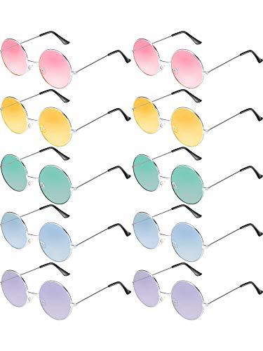 Hippie Sonnenbrille John 60's Stil Kreis Farbige Gläser (Silber Rahmen) ()