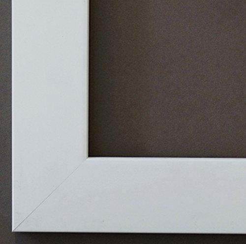 Bilderrahmen Florenz Weiß 4,0 - Über 100 Größen - 4 Ausstattungsvarianten - Leerrahmen ohne Glas mit Aufhänger - 50 x 70 cm - Modern