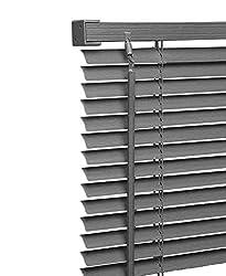 Ruby Deals PVC Window Venetian Blind Blinds Easy Fit Curtains Trimmable Fittings Windows Treatment Shutters Twist Open Close (Grey-PVC, 120cm wide (47.2'') x 150cm)