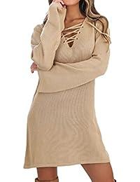 Zojuyozio Le Donne Tunica Pullover Maglioni Vestiti Casual Scollo A V Collo Vestiti  di Lana a11e3fc66dd