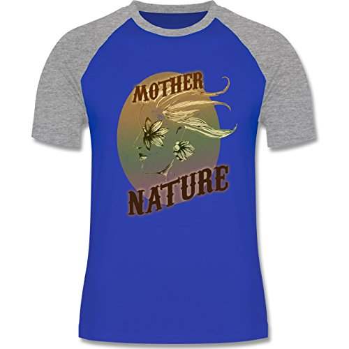 Vintage - Mother Nature - zweifarbiges Baseballshirt für Männer Royalblau/Grau meliert