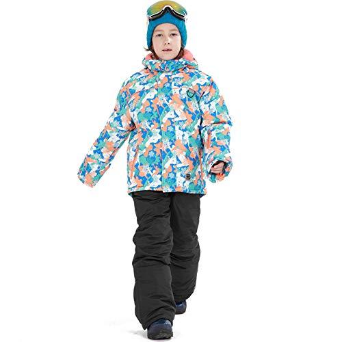LPATTERN Traje de Esquí para Niños/Niñas Traje Conjunto de Nieve Impermeable para Deportes de Invierno, Azul Claro+Negro, Talla:116-122/5-6 años