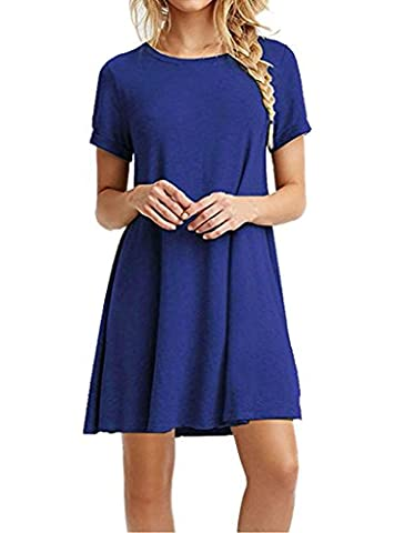 Nergivep short sleeve t shirt dresses women Short Sleeve Casual Loose Tunic T-Shirt Dresses XL