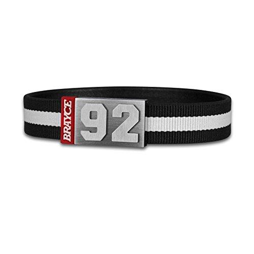 BRAYCE® Trikot am Handgelenk® mit Deiner Nummer 00-99 I Armband schwarz & weiß