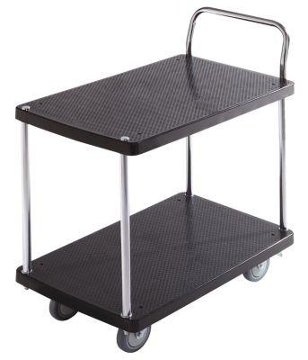 Servier-Tischwagen - 2 Etagen, 1 Schiebebügel Tragfähigkeit 150 kg - Beistellwagen Tischwagen Wagen Werkstattwagen Etagenwagen Kunststoff-Wagen Plattformwagen