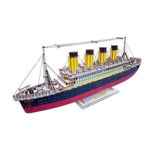 CHSSC Holzklötze Gebäudemodell, Holz Titanic Modell 3D Puzzle Modelle Bausteine   Bastelsets Für Kinder Geburtstagsgeschenke (Titanic Holz Modell)