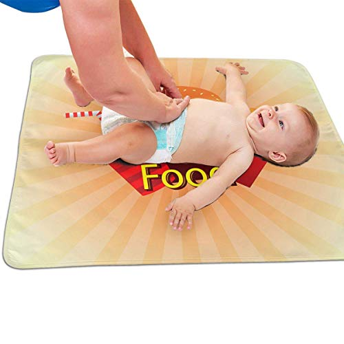 Zcfhike Baby Portable Diaper Changing Pad Hamburger Fast Food Urinary Pad Baby Changing Mat 31.5' x25.5''