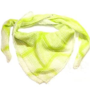Cotton Shemagh head neck Scarf LIME GREEN WHITE SILVER