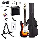 Display4top Guitare électrique avec Amplificateur,Support, sac, médiator, manche, cordes de rechange, accordeur, étui et câble (Sunburst)