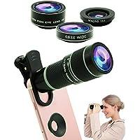 5 in 1 Phone Kit obiettivo fotocamera 20X teleobiettivo , 0.63x grandangolare,macro, fisheye,Maschera occhi, mobile Telescopio compatibile iPhone Samsung Huawei Android smartphone