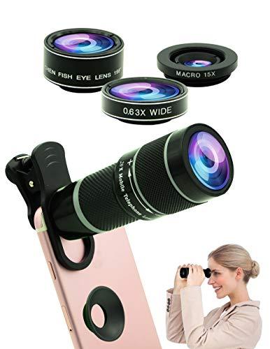 Teléfono celular Kit de lentes de cámara, 5 en 1 Universal 20x Zoom Teleobjetivo, angular 0.63x, macro, ojo de pez, máscara de ojo, compatibles iPhone Galaxy Huawei teléfonos inteligentes Android
