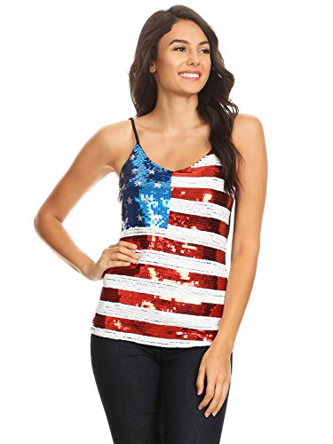Anna-Kaci Frauen America USA Flagge Bingeling Pailletten Slim verstellbare Spaghetti Strap Tank Top
