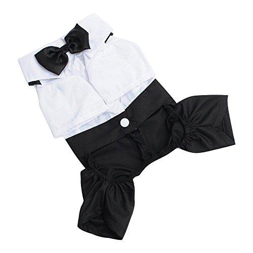 Hunde Kostüm Sandy - Gilroy Pet Prince Bräutigam Hemd Anzug mit Fliege Kostüm für Puppy Hund Katze, L, Schwarz/Weiß