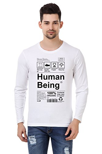 Desi Swag Human Being Printed Designer Full Sleeves New Men's Cotton T-shirt  available at amazon for Rs.399