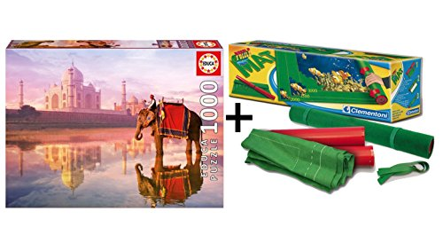 Pack Puzzle Educa 16756. Elefante en el Tag Mahal . 1000 piezas + Tapete universal Puzzle Roll Clementoni 30297