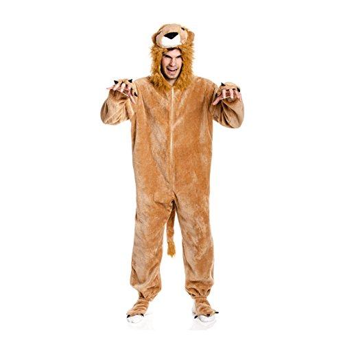 Kostümplanet Löwen-Kostüm Deluxe Herren Kostüm mit Tatzen Overall -