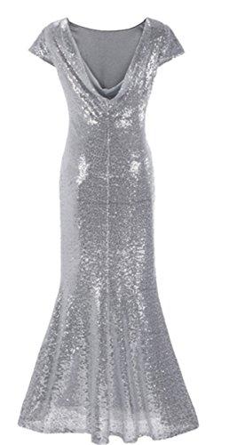 EMIN Damen Abendkleid Kleid Lang Festlich Elegant Kurzarm Cocktailkleid Kleider Partykleid mit Pailletten Silber