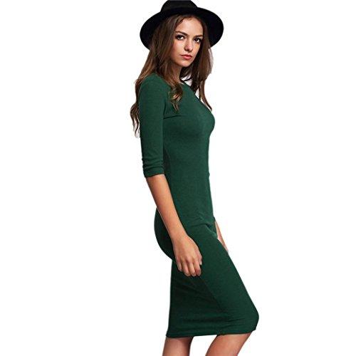 Kleid damen Kolylong Frauen-Damen-dünnes Bodycon-halbes Hülsen-Oansatz Art- und Weisebleistift-Kleid Grün