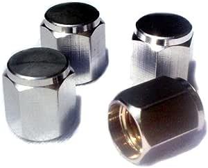 Preskin Ventilkappen 4x Hexagon Auto Ventilkappe Aus Messing Chrom Ventildeckel Für Reifenventile Auto
