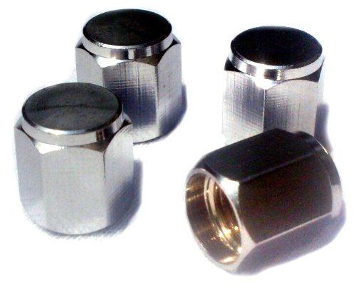 EDELSIGN - 4 er Set Premium Auto Ventilkappen (Messing + Chrom) HEXAGON Valve Caps (Chrom Ventilkappen)