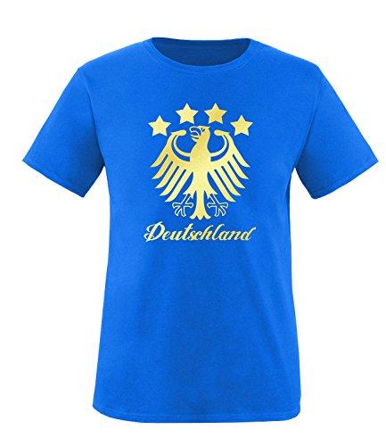 Luckja EM 2016 Deutschland Fanshirt Gold Edition M 01 Herren Rundhals T-Shirt Royal/Gold
