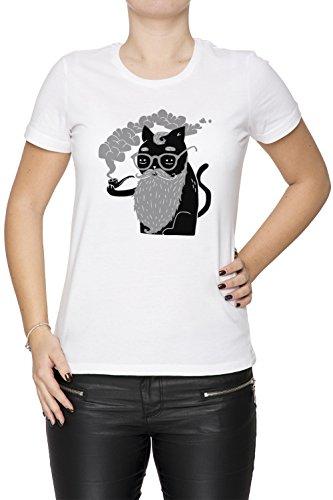 Schnurrhaare Und Rohr Damen T-Shirt Rundhals Weiß Kurzarm Größe XS Women's White X-Small Size XS
