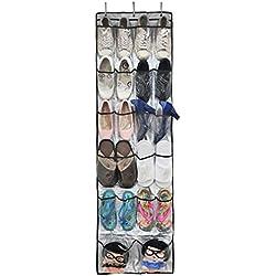 Bolso de Espacio de Zapatos de Puerta,22 Bolsillo de Almacenamiento de Zapatos, Con ganchos por Arriba de la Puerta de Zapatos del Organizador del Almacenaje,Bolsillos Espacio Zapato para Colgar Zapatos, Color Transparente (150 cm x 61 cm)