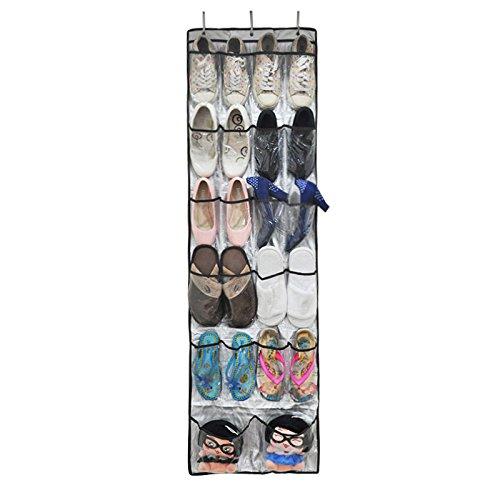 24 Gran Bolsillo Solucion de Almacenamiento de Calzado Zapatos, Con 3 Ganchos de Metal Sobre la Puerta Reversible - Zapatero Organizador Bolsa de Almacenamiento para colgar Zapatos Estante Plegable Armario Bolsa de Ganchos Color Transparente (59