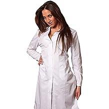 AIESI Bata de Laboratorio Medico para Mujer blanco de algodón 100% sanforizado MADE IN ITALY