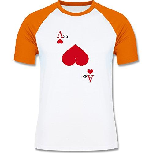 Shirtracer Statement Shirts - Herz Ass - Herren Baseball Shirt Weiß/Orange