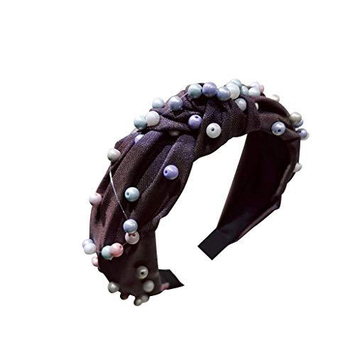TOPGKD beliebt Womens Pearl Tie Perlen Stirnband Haarband Bow Knot Cross Tie Headwrap HaarbandIns umsatzstark(C) -
