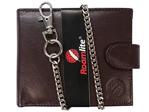RFID Schutz Herren Bikerbörse Leder Geldbörse - Kreditkarten Brieftasche mit Kette - 43cm Kette - 4 Kreditkartenfächer - Münzfach mit Druckknopf - von Roamlite RL506DBRFID