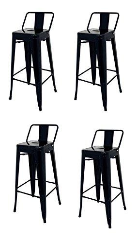 La Chaise Espagnole - Lot de 4 Tabourets de style Tolix avec dossier, Negro, 94x44,5x44,5