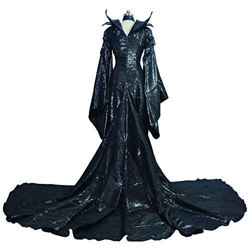 COOGG Hochwertige Maßgeschneiderte Dunkle Hexe Boshafte Erwachsene Frauen Halloween Party Boshafte Cosplay Kostüm Schwarz Kleid Horn Hut (Paare Kostüm Mädchen)