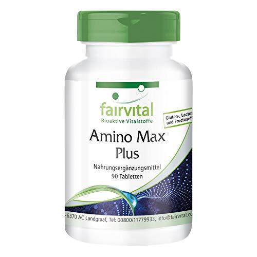 Amino Max Plus - complejo de aminoácidos - vegetariano - 90 comprimidos - contiene 13 aminoácidos esenciales - ¡Calidad Alemana garantizada!