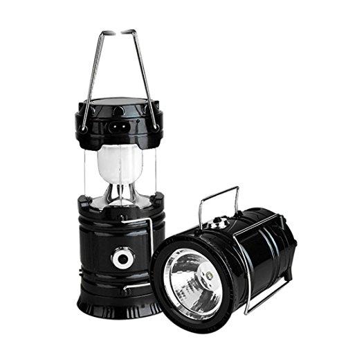 linterna camping led solar recargable Sannysis linternas bicicleta montaña Farol LED de camping 6 Leds, Carga USB, camping accesorios bottom with torch lighting (Negro)
