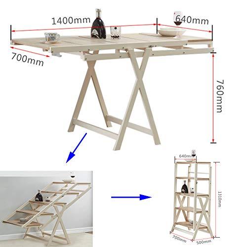 Esszimmer-Tisch mit Metall-Fuß Weiß aus Massiv-Holz L140CM x W70CM x Hoch76cm Recht-eckig,Modern...